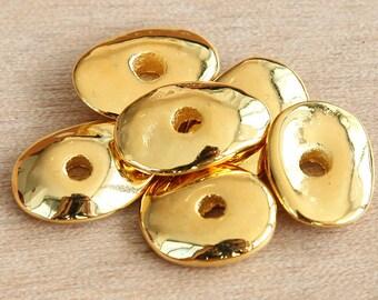 3 pcs Mykonos Ceramic Beads, 24K Gold Plated, 18mm Cornflake Disk Spacer - eM13CG