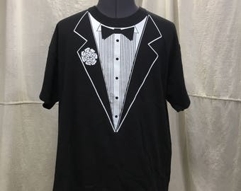 vintage 80s tuxedo t-shirt Athletic Supporter Ltd 1980 short sleeve tuxedo tee shirt formal wear black tie L/XL extra large 100% cotton WQN40TZBX