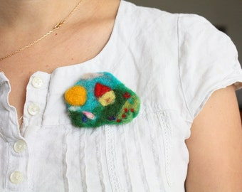 Waldorf Gnome House, needle felted brooch, sun, red roof, green hills, soft sculpture, handmade pin,organic jewelry,nature loving, love gift