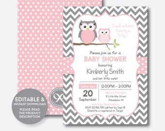 Owl baby shower etsy instant download editable owl baby shower invitation pink owl invitation girl baby shower filmwisefo