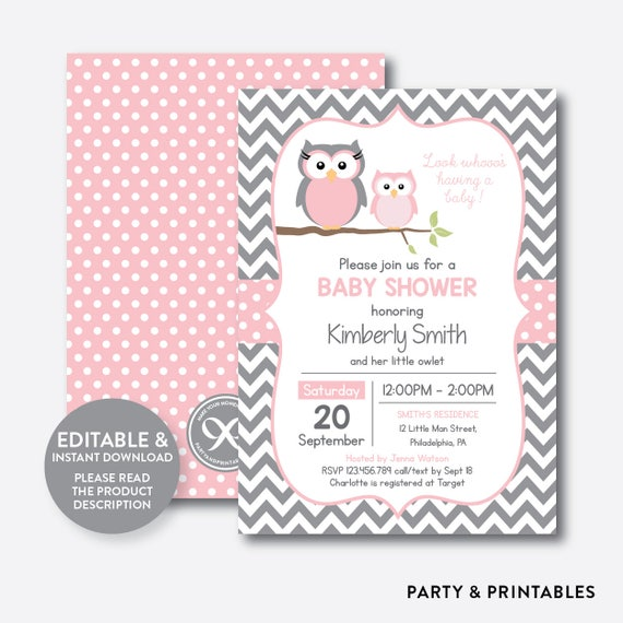 Instant Download Editable Owl Baby Shower Invitation Pink