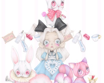 Alice wonderland pop surrealism cheshire cat white rabbit pastel ORIGINAL