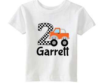 Monster Truck Birthday Shirt - Boys Birthday Shirt - Personalize with Name and Age