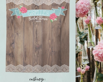 Bridal Shower Booth, Lace Wood Backdrop, Rustic Bridal Shower Backdrop, Sweet Rustic Bride Backdrop, Outdoor Wedding / W-A10-TP REG1 AA3