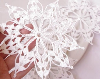 Crochet snowflakes Hanging winter decorations Crochet ornament White crocheted snowflake Handmade ornaments S2