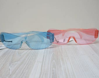 Pink and blue safety glasses Sunglasses eyewear sun eye Retro Vintage by Franco Toni girl woman lady made in Europe Italy teenager nos
