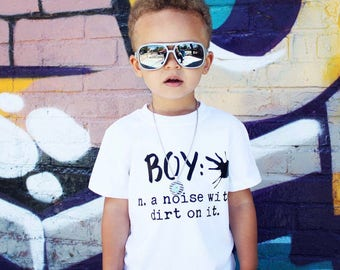 Boy noise with dirt on it, boy shirt, boy tee, toddler boy, baby boy, kids boy shirt, short sleeve white shirt, baby present, baby shower,