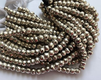 WHOLESALE 5 Strands Silver Pyrite Beads, Silver Pyrite Faceted Rondelles, Pyrite Necklace, 7.5mm Beads, 8 Inch Strand, 35 Pcs