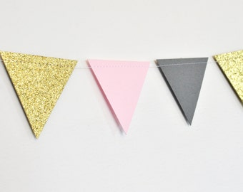 Pink Grey and Gold Flag Bunting, Paper Garland, Birthday Party Decor, Wedding Decor, Shower Decor, Nursery