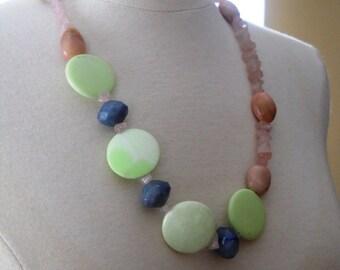 Flirt necklace - October birthday - chrysoprase, rose quartz, aventurine, opal, green, blue, pink
