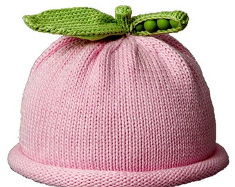 Sweet Pea Knit Hat, Pink, Hand Loomed Cotton Knit Cap for Baby & Toddler, Baby Shower Gift, Baby Gift, Free Shipping