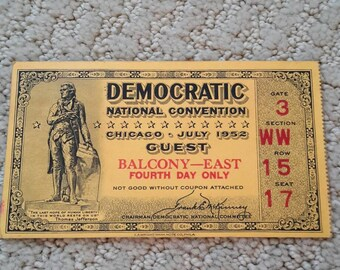 Democratic National Convention July 1952, Chicago, Illinois - Ticket, Directory, Congressman Letter, political ephemera, Democrat Politics