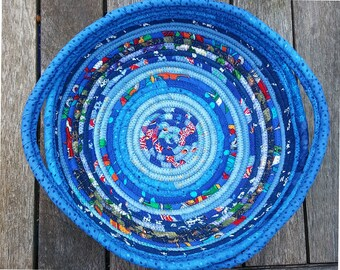 Coil Basket OOAK Handmade Fiber Art  Fabric Clothesline Bowl