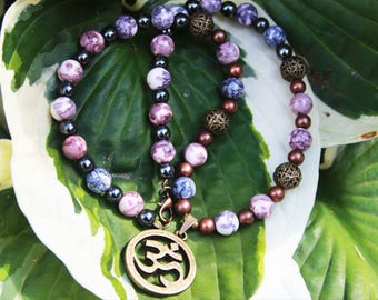 AUM (OM) to Rainbow stone, hematite, and copper beads