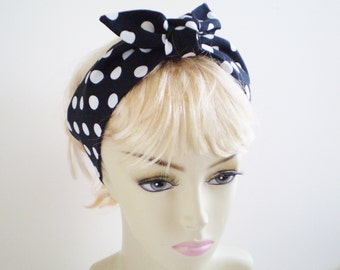 Black White Dot Head Scarf, Black and White Polka Dot Head Scarf, Black White Dot Knotted Head Scarf