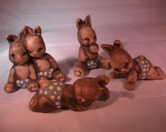 Reduced!!  Vintage Set of Baby Easter Bunny Rabbit Miniature Ceramic Figurines