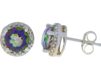 2 Ct Genuine Mystic Topaz & Diamond Stud Earrings .925 Sterling Silver Rhodium Finish