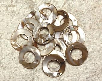 10pc - Pearls Pearl charms 25mm Ecru 4558550014955 circles