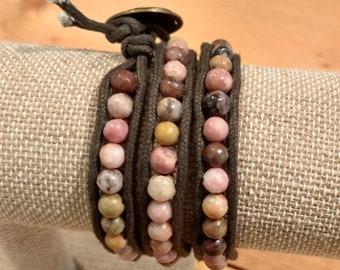Triple Wrap semiprecious stone bracelet