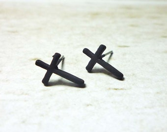 Black Cross Stud Earrings, Dainty Earrings