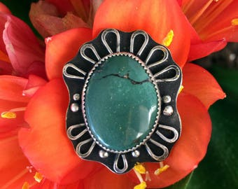 Sterling Silver - Green Kingman Turquoise Ring