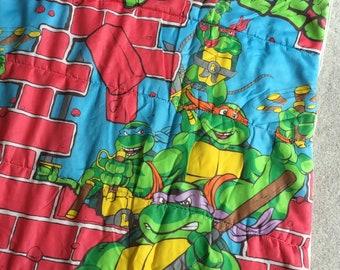 """Vintage 1991 Teenage Mutant Ninja Turtles TMNT Childrens Sleeping Bag 30x57"""", Turtles Breaking Through Brick Wall Cartoon"""