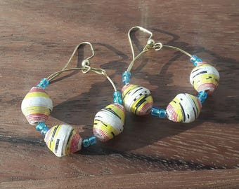 Ugandan Paper Bead Hoop Earring with earwire (yellow/red/blue)