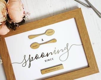 Spooning Silver foil Print
