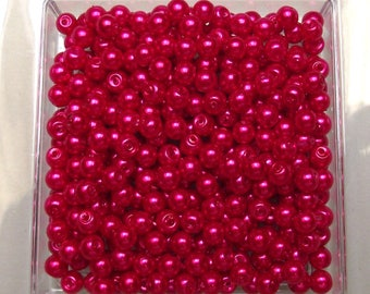 """100 """"red coral"""" glass pearls 4 mm."""