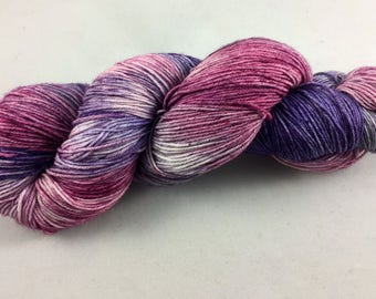 hand dyed sock yarn, fingering weight, superwash merino and nylon, colorway TIARA