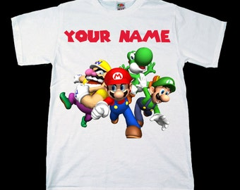 Nintendo Super Mario And Friends Personalised Kids Tee T-Shirt T Shirt