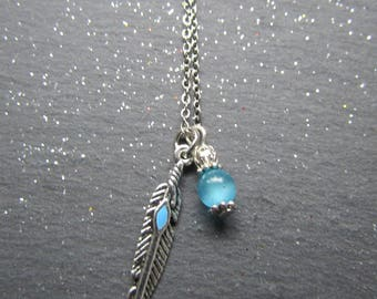 Feather and Aquamarine Necklace, Feather charm Necklace, Feather Jewelry, Bohemian Necklace, Native American jewelry, Boho Necklace, Feather