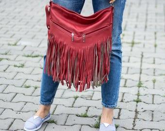 Hobo Bag, Leather Fringe Bag, Bag with Tassels, Large Cross Body Bag, Leather Handbag, Purse, Large Tote, Red Leather Hobo Bag, Boho