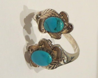 Faux Turquoise Sterling Silver Bypass Ring