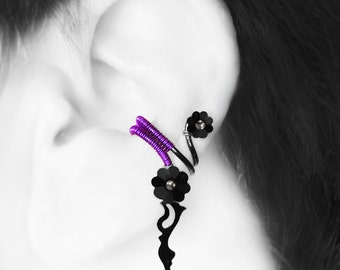 Steampunk Left Ear Cuff, Swarovski Crystal, No PIercing needed, Cartilage Earring, Left Ear Cuff, Crystal Earring, Metis III v8 (left)