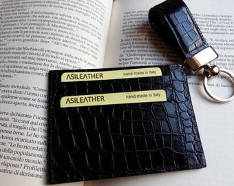 set crocodile leather credit cardholder keychain.wallet keyring. Croc card holder. Great gift idea.Hand made in Italy.Printed croc calfskin