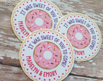 Donut Party Personalized Favor Tags