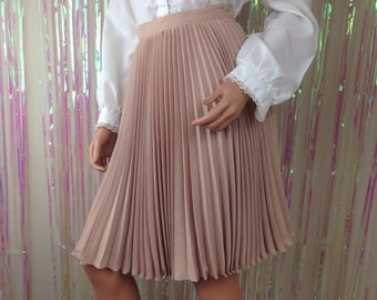 Vintage Lew Magram 80s skirt fan pleated light brown beige a-line sz 3/4 B4