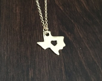 Texas Necklace, Texas, gold Texas necklace, Texas jewelry, Texas pendant, state necklace, state jewelry, necklace, gold necklace