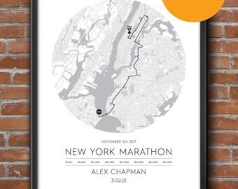 New York Personalised Marathon Poster / Memento / Gift / Art Print / Route / Map