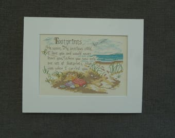 Footprints / Beach Completed Cross-Stitch