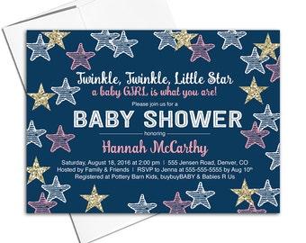 girl baby shower invitations, twinkle twinkle little star invitation, navy pink gold baby shower invites, printed or printable - WLP00705
