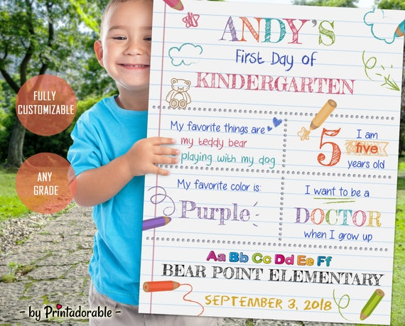 Kindergarten Sign, Preschool Sign, Back to School Sign, First Day of School, First Day School, First Day Sign, Back to School, School Sign,