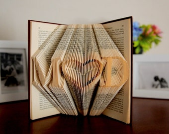 Gift For Her, Folded Book Sculpture, Birthday Gift For Her, Girlfriend Gift, Origami Book, Anniversary Gift For Girlfriend, Gift For Mom
