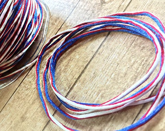One Yard of Red, White and Blue Patriotic String, Memorial Day, 4th of July, Veteran's Day, USA, Scrapbooking, Card-Making, Embellishment