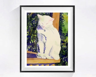White Cat Painting Watercolor Print, All white cat, Realistic painting, Animal painting, Child's room decor, green white, Cat