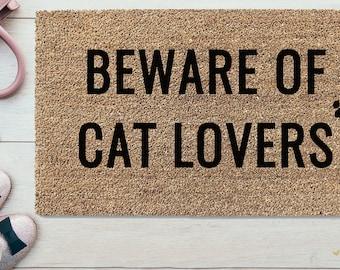 """Doormat  - """"Cat Lovers"""" Welcome Guests"""