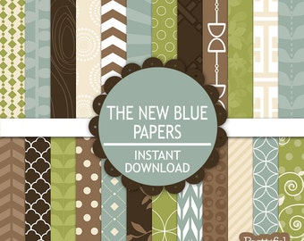 Digital Scrapbooking Baby Boy Printable Paper Pack Instant Download The New Blue