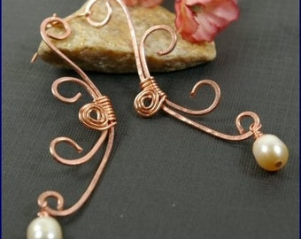 Dominique Pearl and Copper Earrings