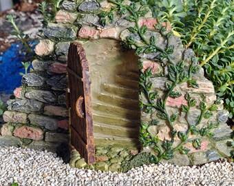 Door with Hidden Stairway for Miniature Garden, Fairy Garden